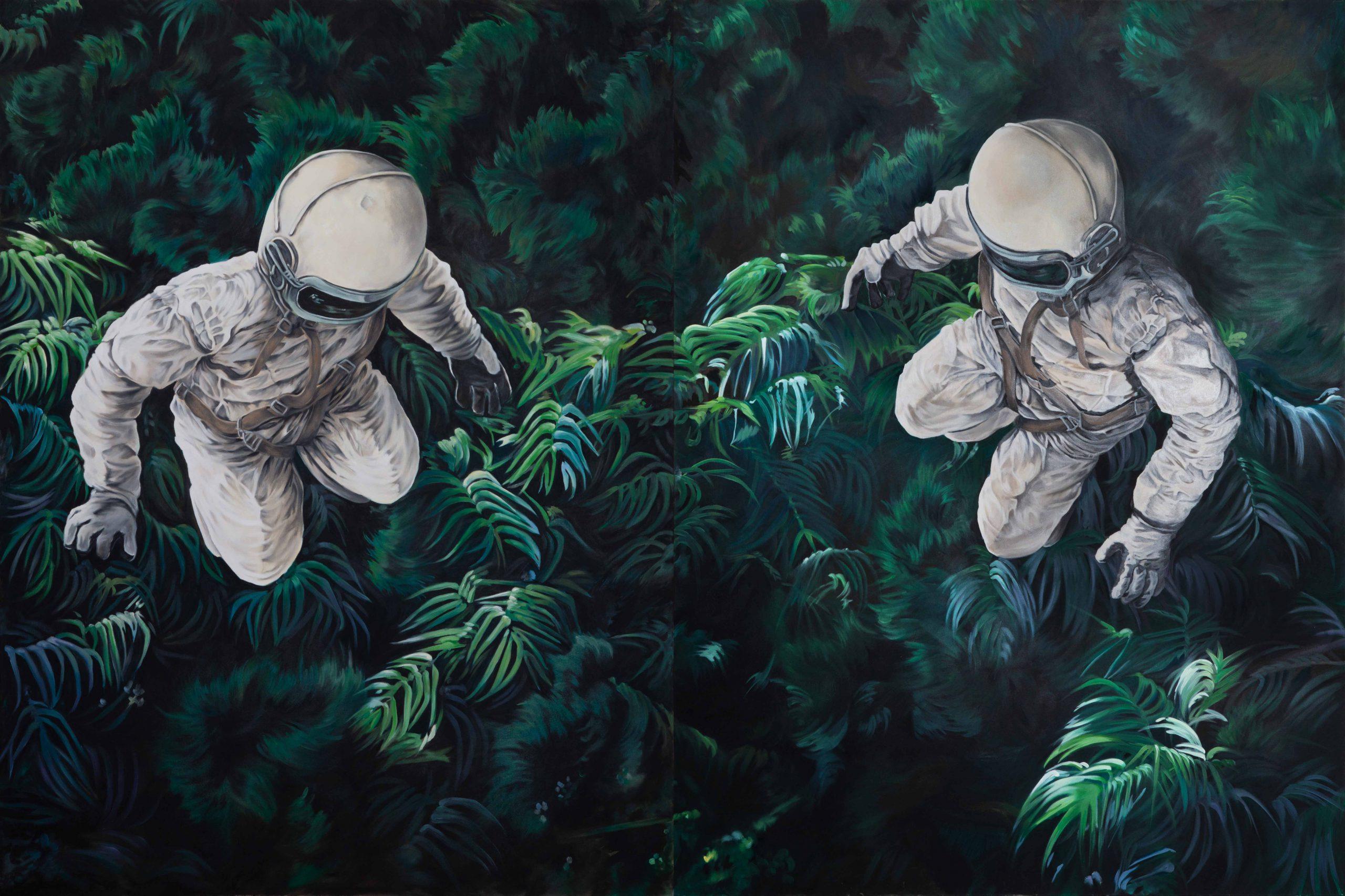 zwei Astronauten schweben