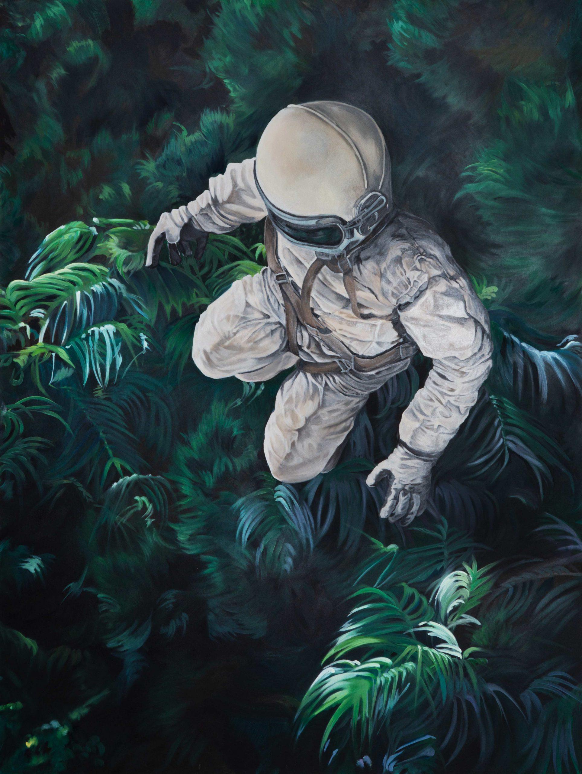 Astronaut im Dschungel schwebend