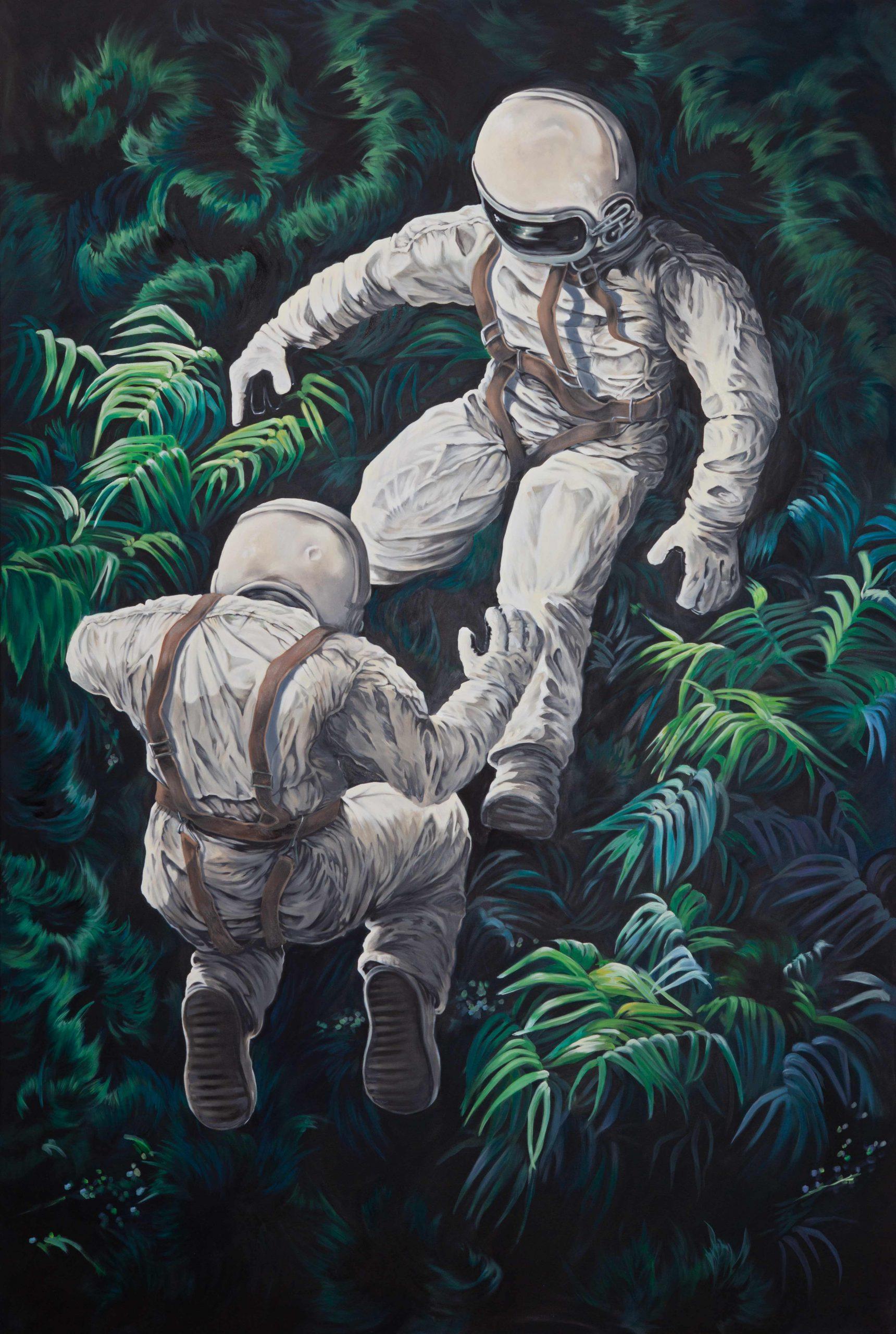zwei Astronauten im Dschungel